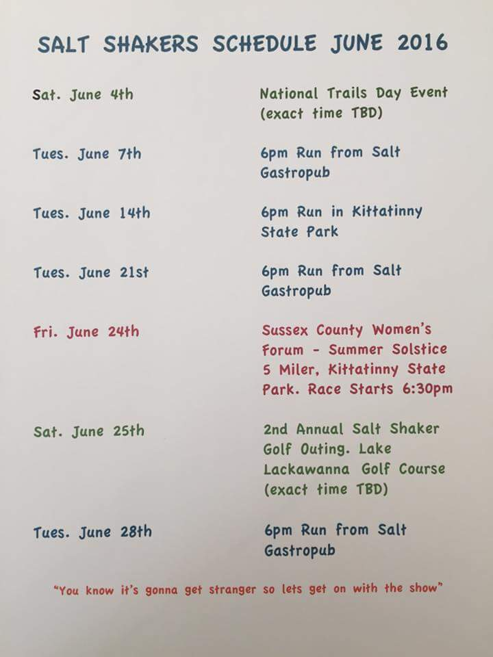 June 2016 trail run calendar