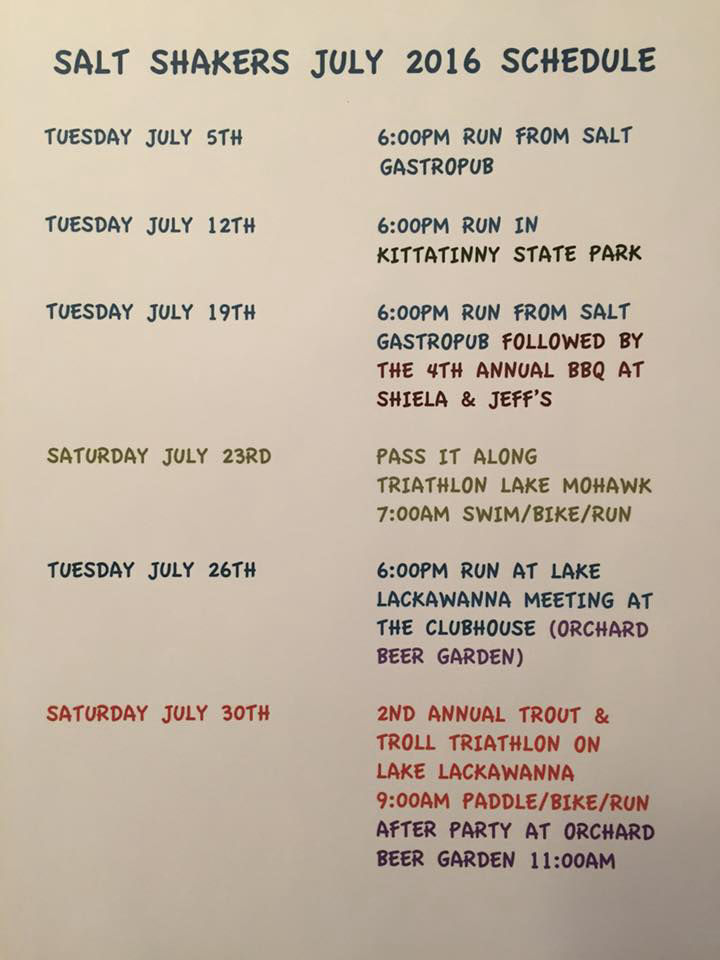 July Run Schedule