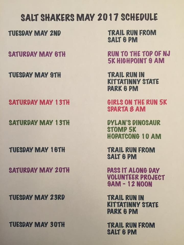 Salt Shaker Trail Running Club May 2017 Calendar