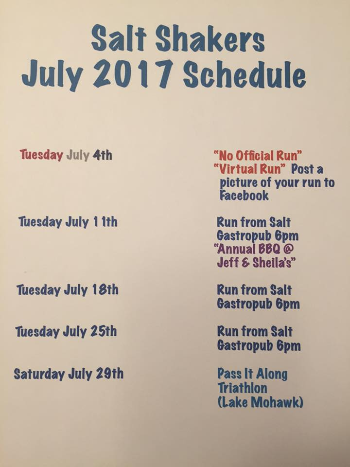 July 2017 Trail Run Calendar
