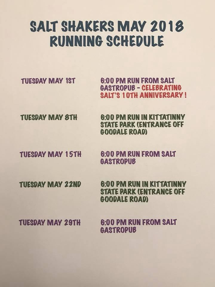 Salt Shaker Trail Run Schedule May, 2018