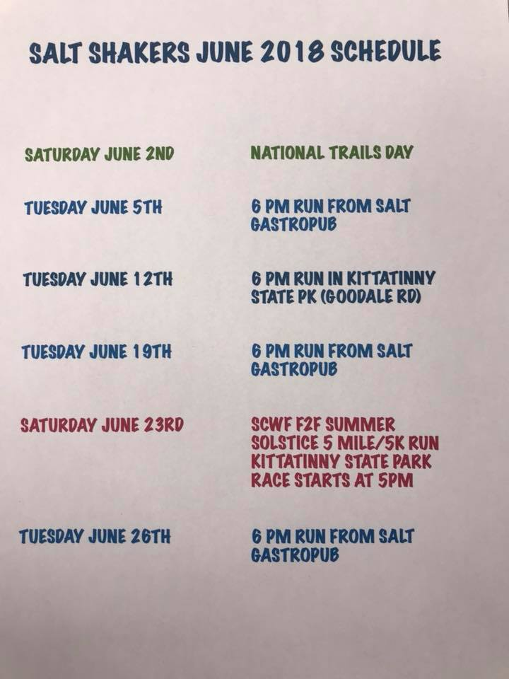June, 2018 Trail Run Schedule