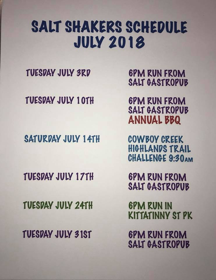 July 2018 Trail Run Calendar