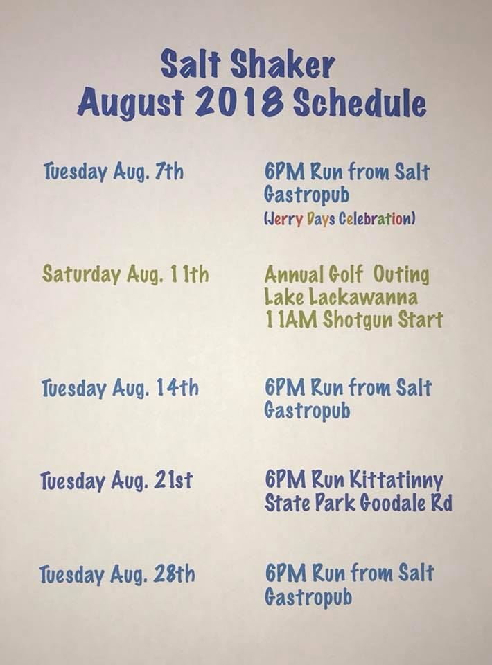 August, 2018 Trail Run Calendar