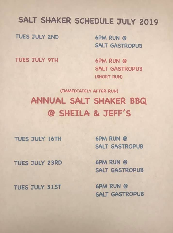 July 2019 Run Schedule